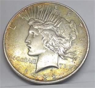 1922 D US Silver Peace Dollar
