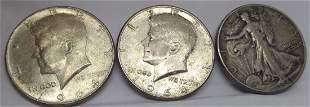 Lot of 3 Us Silver Half Dollars