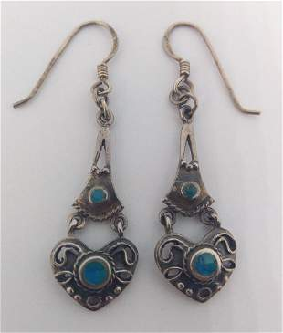 Vintage Sterling Silver Heart Drop Earrings