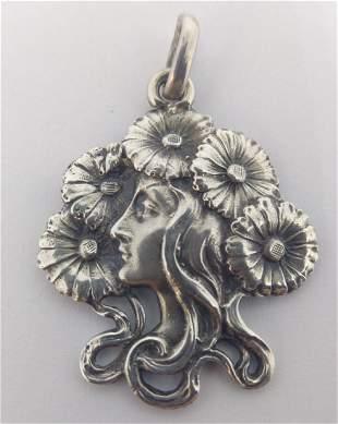 Beautiful Sterling Silver Art Nouveau Pendant