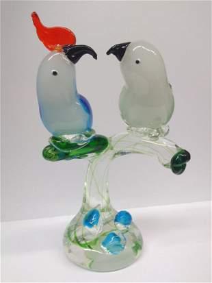 Vintage Murano Glass Birds On Branch Sculpture