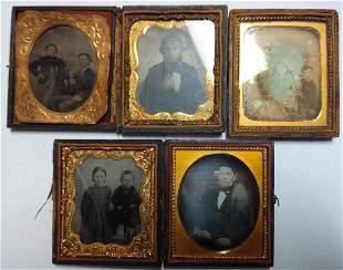 Lot of 5 Antique Tin Type Photographs