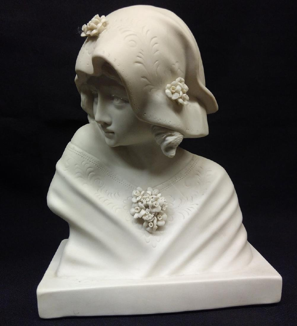 Antique French Signed Bisque Porcelain Bust - 2