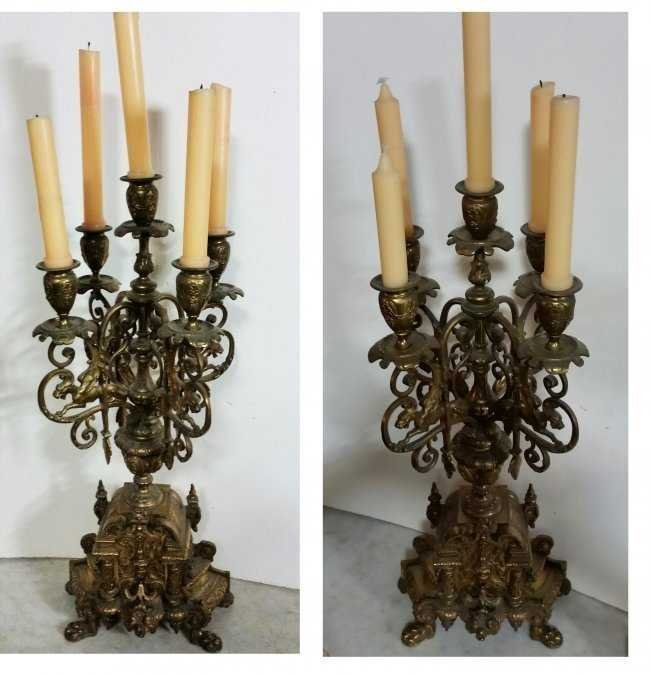 PAIR OF VICTORIAN VINTAGE ANTIQUE CANDLESTICKS