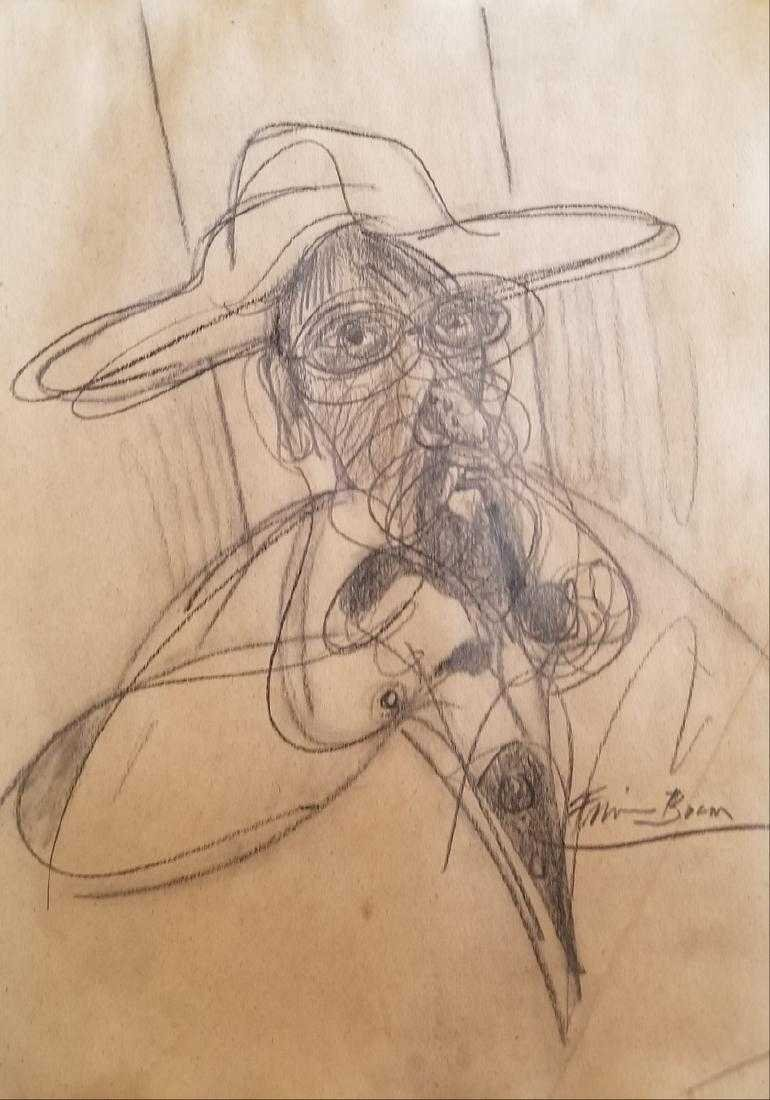 PENCIL ON PAPER SIGNED FRANCIS BACON