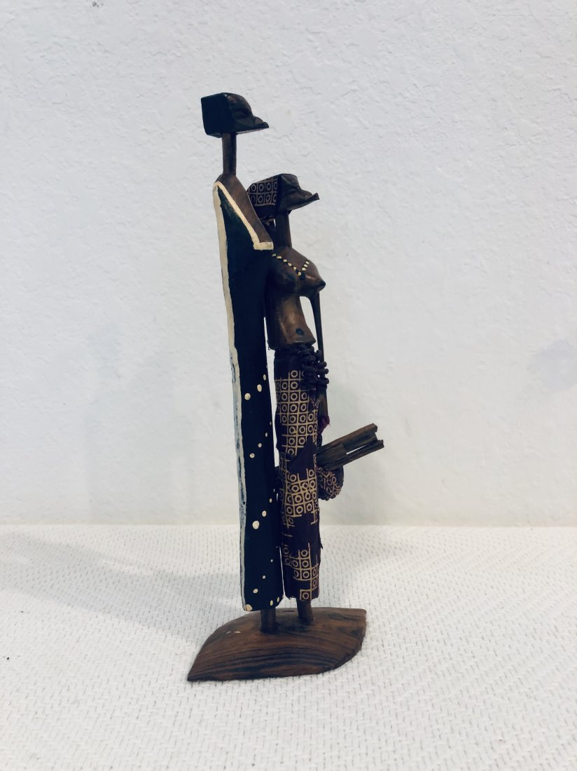 Man and Woman Wood Sculpture Signed African - 2