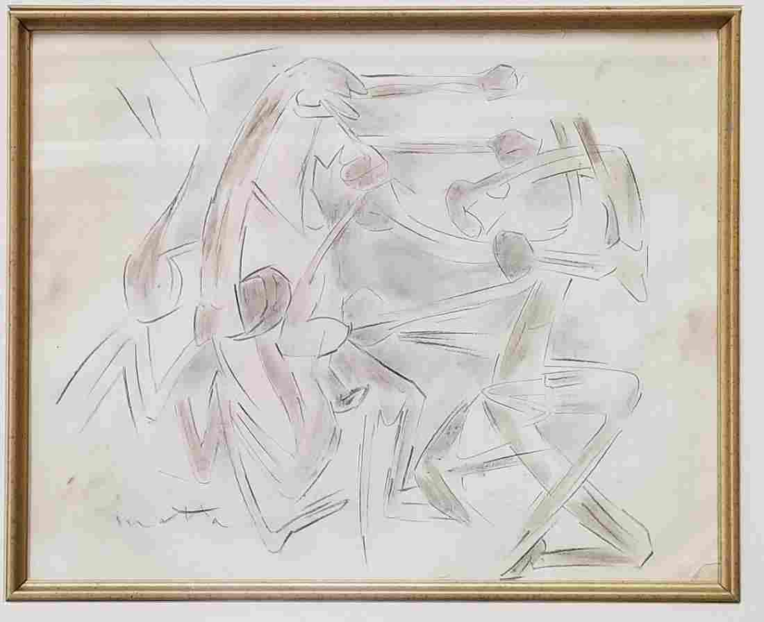Roberto Matta Chile Abstract Surrealism Drawing Signed