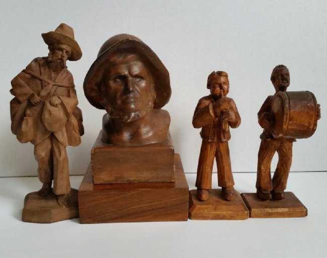 Lot of Wooden Antique Musician Sculptures