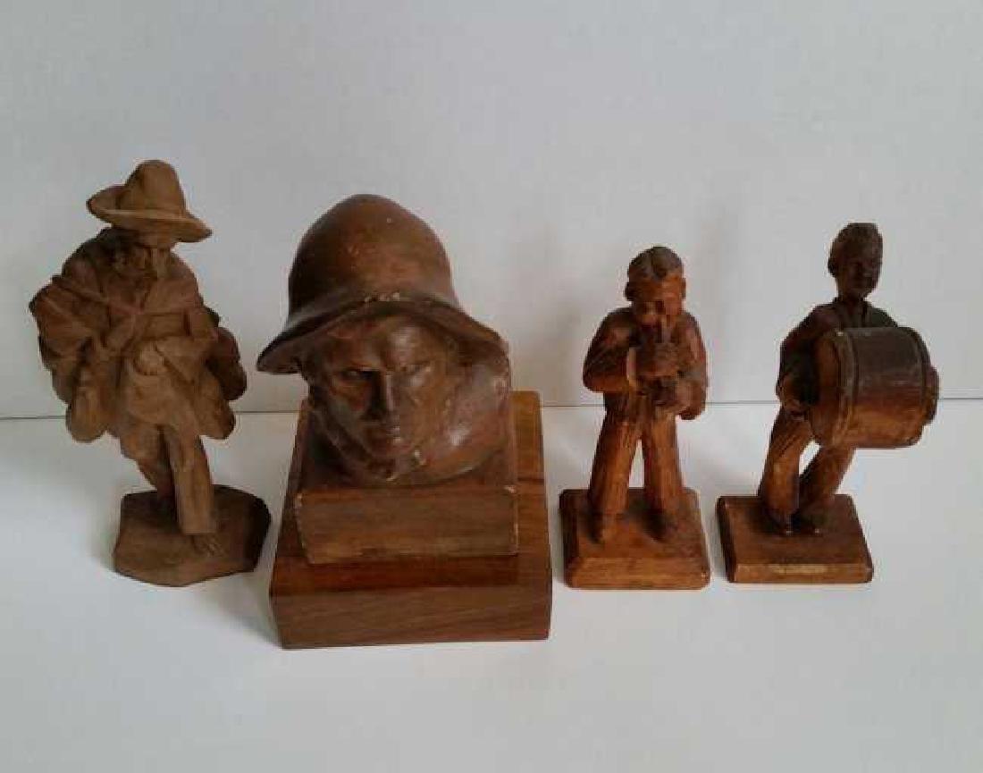 Lot of Wooden Antique Musician Sculptures - 2
