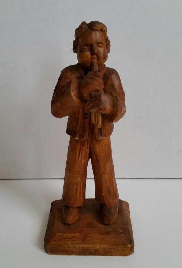 Lot of Wooden Antique Musician Sculptures - 6