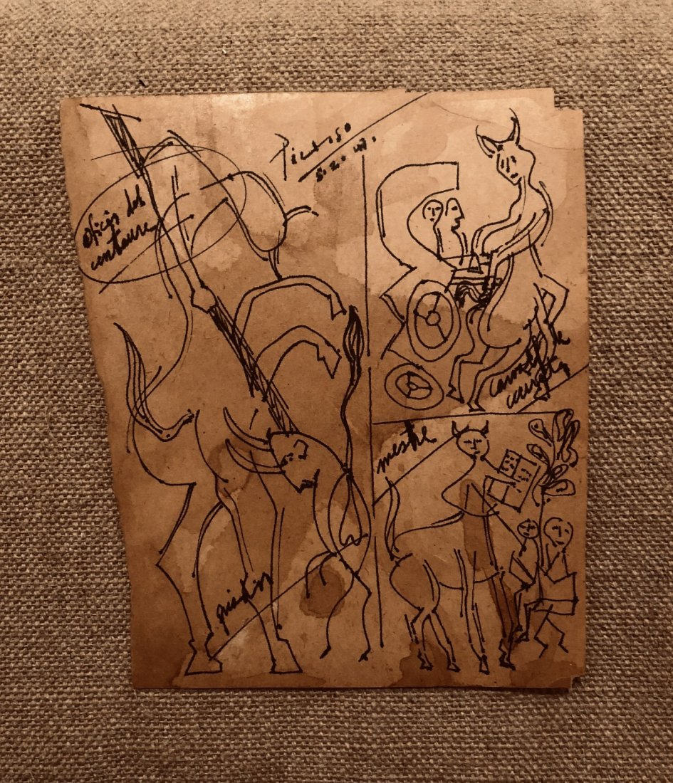 Pablo Picasso Drawing Ink Paper  Toros Cubism Spanish