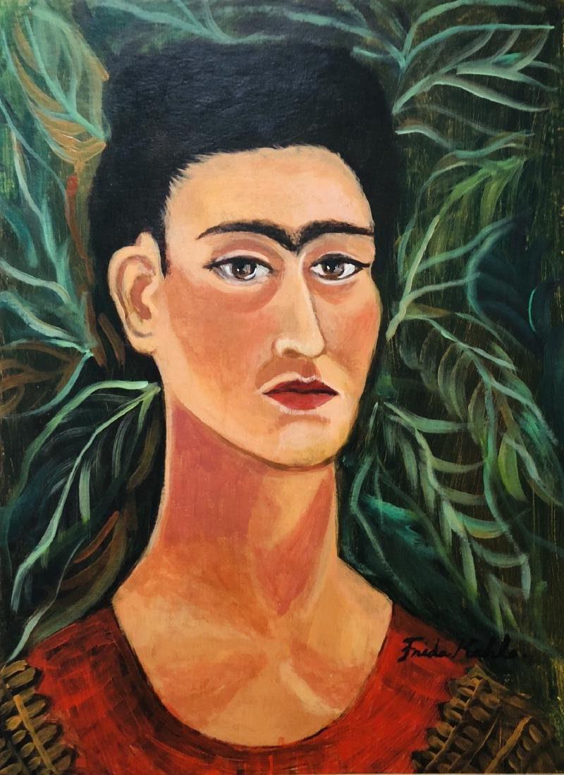 Frida Kahlo Mixed Media Portrait Mexican
