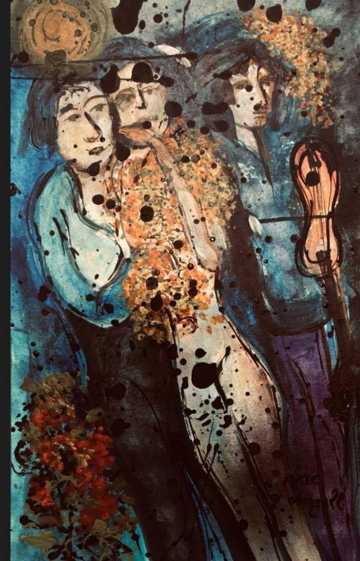 Marc Chagall Mixed Media On Cardboard