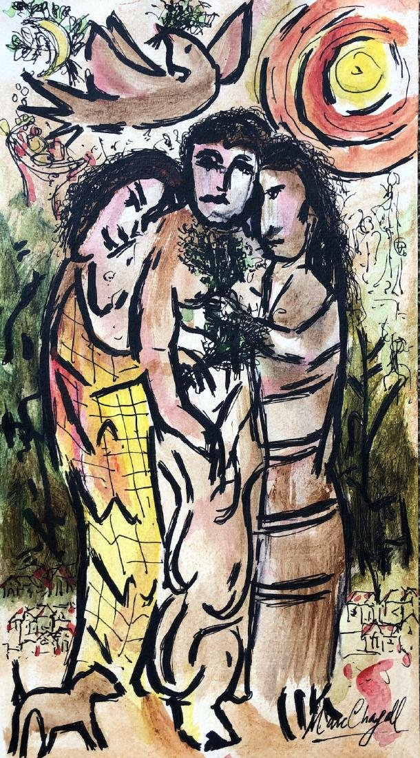 Marc Chagall Drawing RUSSIAN French Painting(1887-1985)