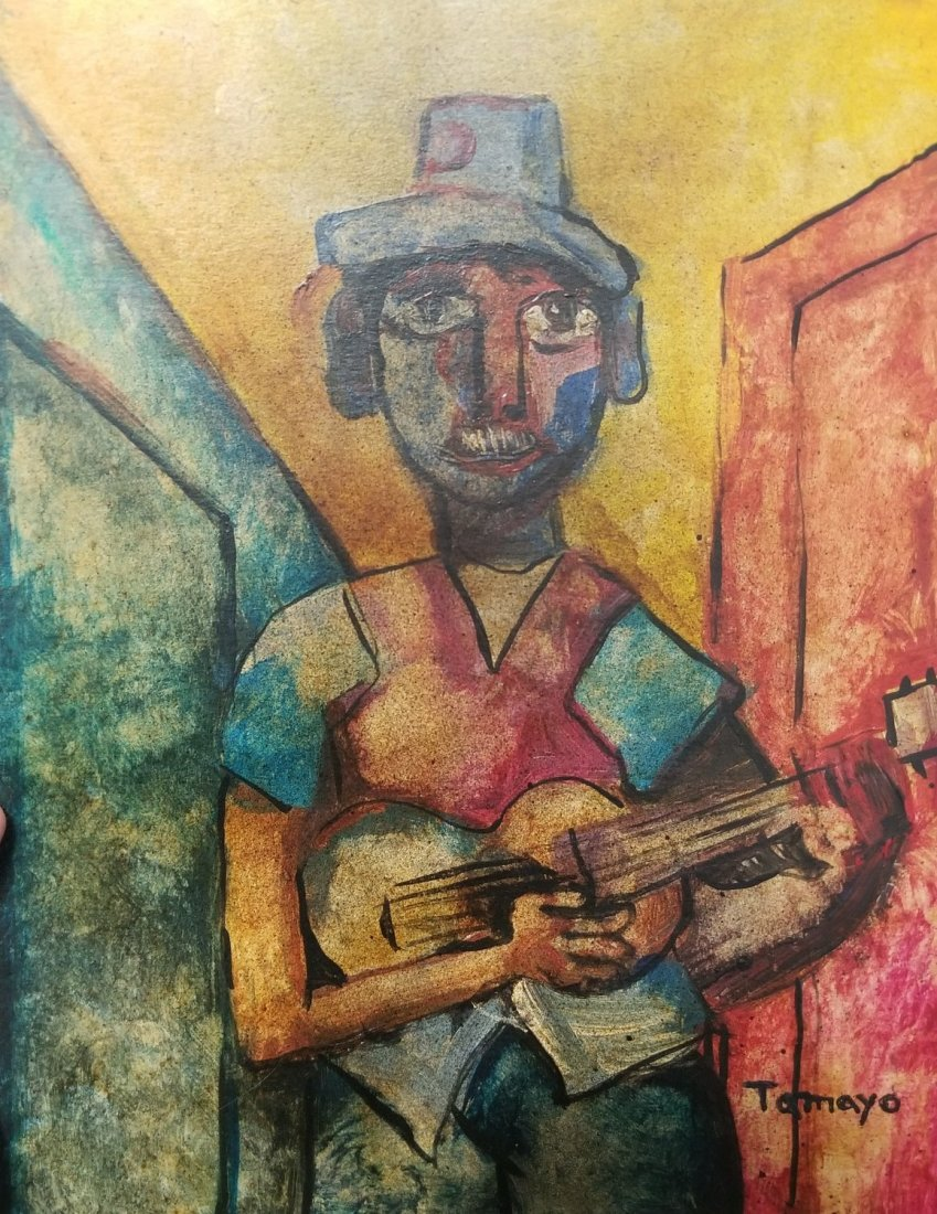 Rufino Tamayo Musician Guitar Signed Mexican 1899-1991