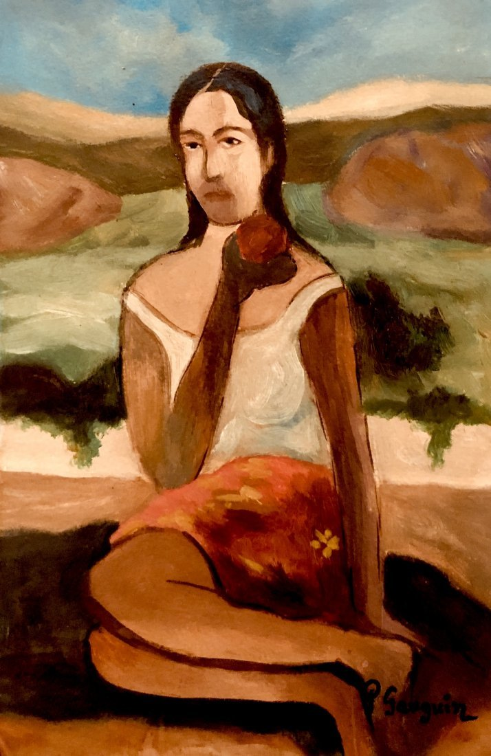 Paul Gaugin Art Post Impressionist Woman Landscape