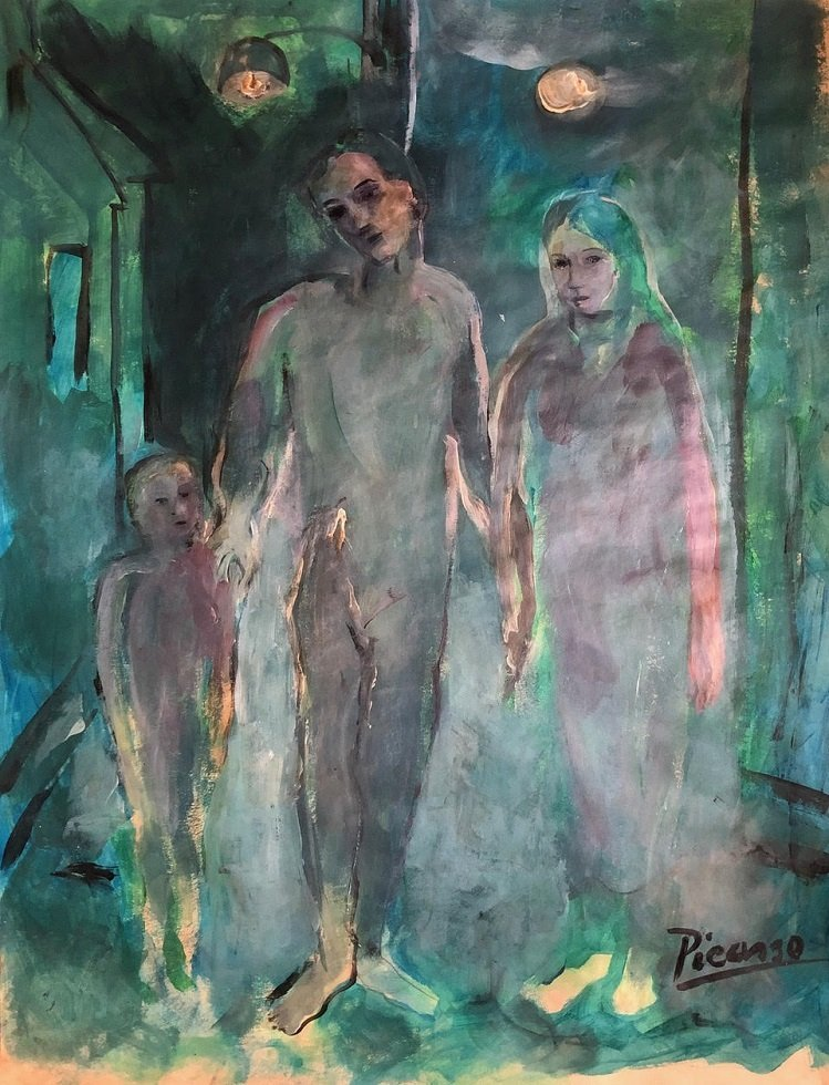 Pablo Picasso Spanish Art Signed Family Blue Era
