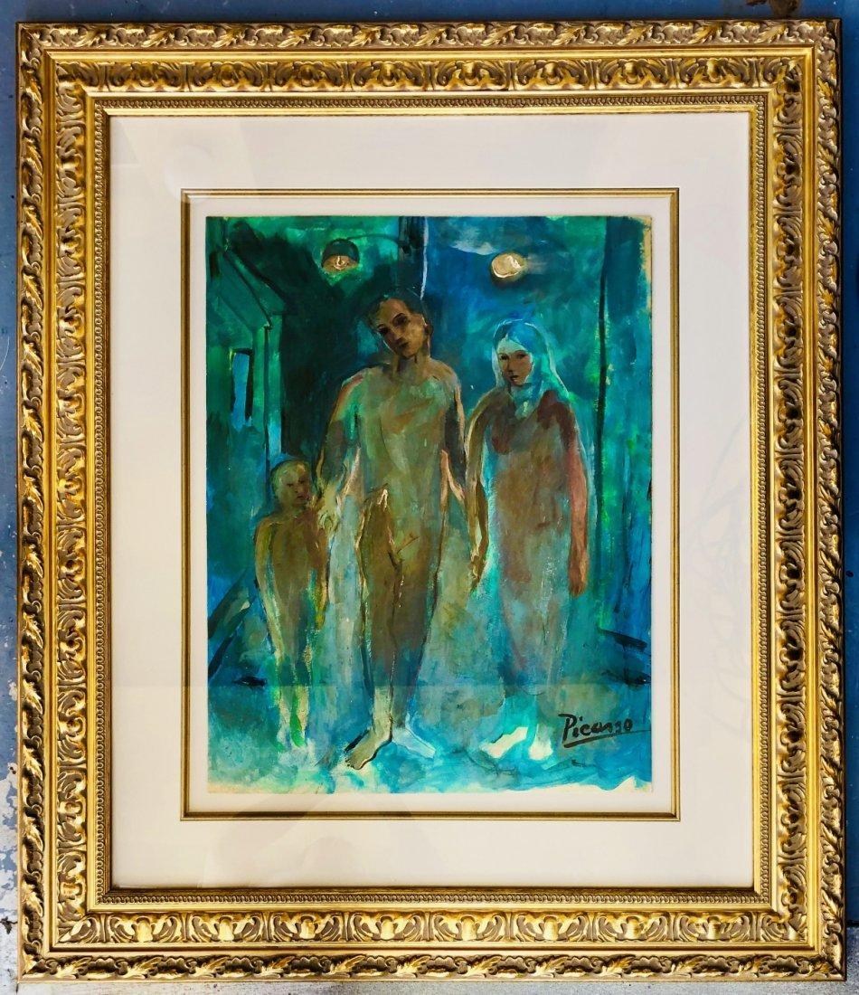 Pablo Picasso Spanish Art Signed Family Blue Era - 3