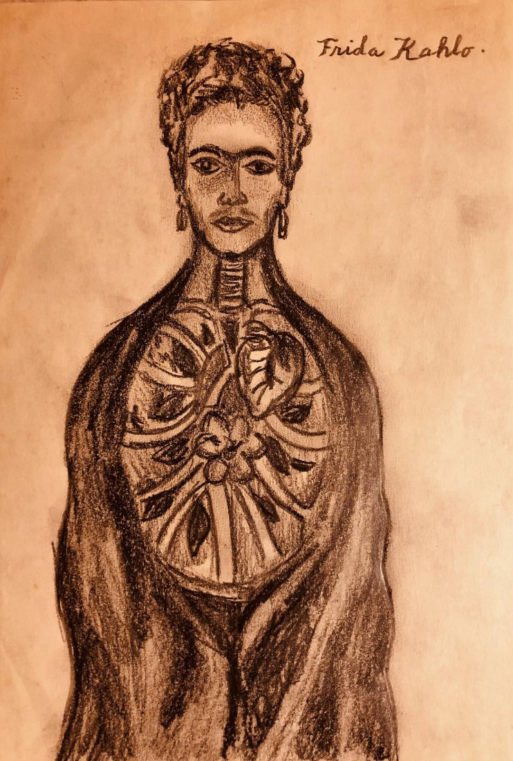 Frida Kahlo Mexican Self Portrait art drawing Signed