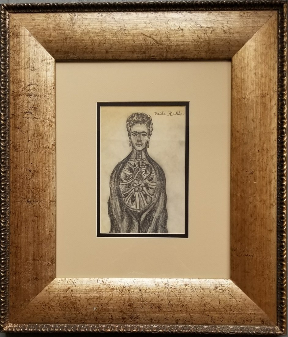 Frida Kahlo Mexican Self Portrait art drawing Signed - 2