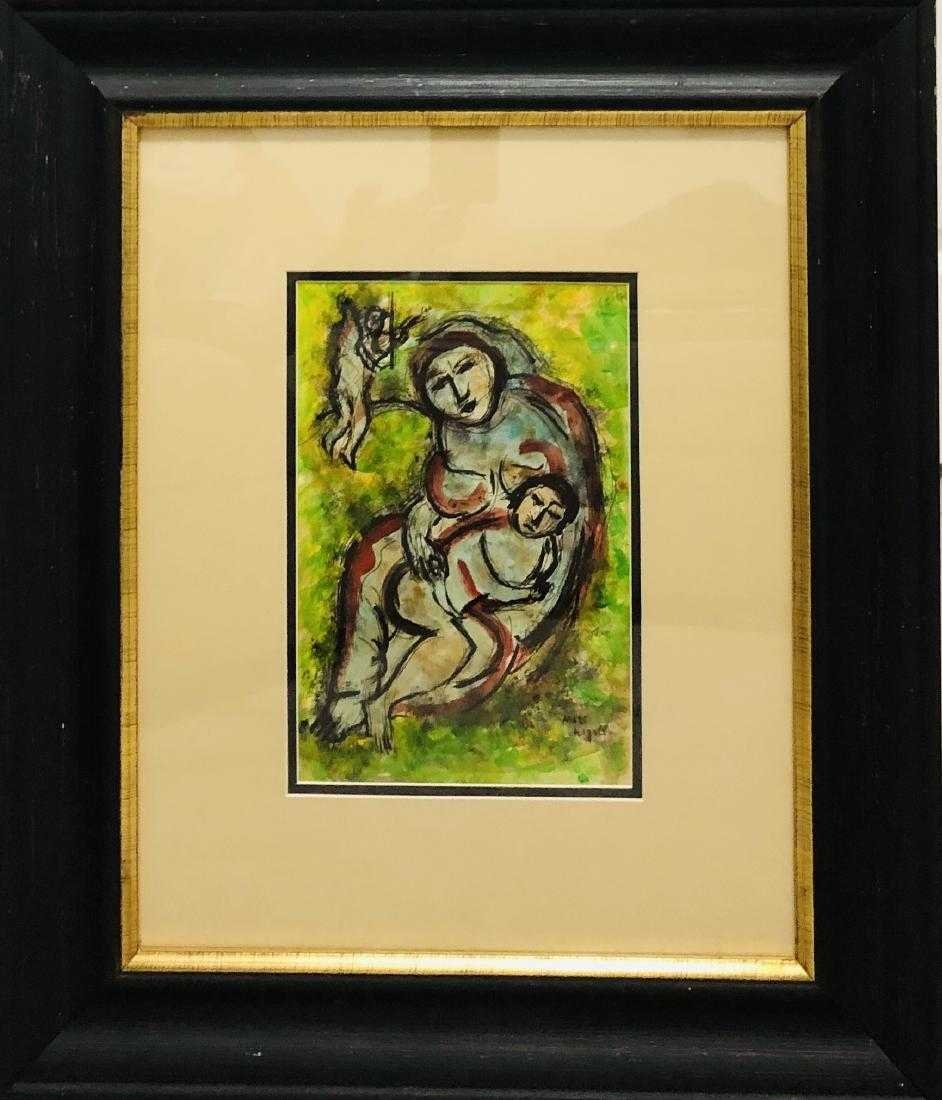 Marc Chagall Watercolor Russian French Art Attributed - 2