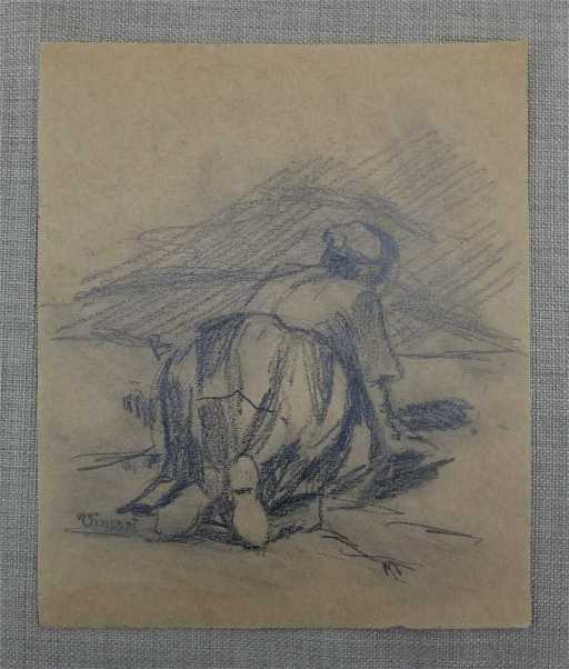 Vincent Van Gogh Women Landscape Drawing Attributed on