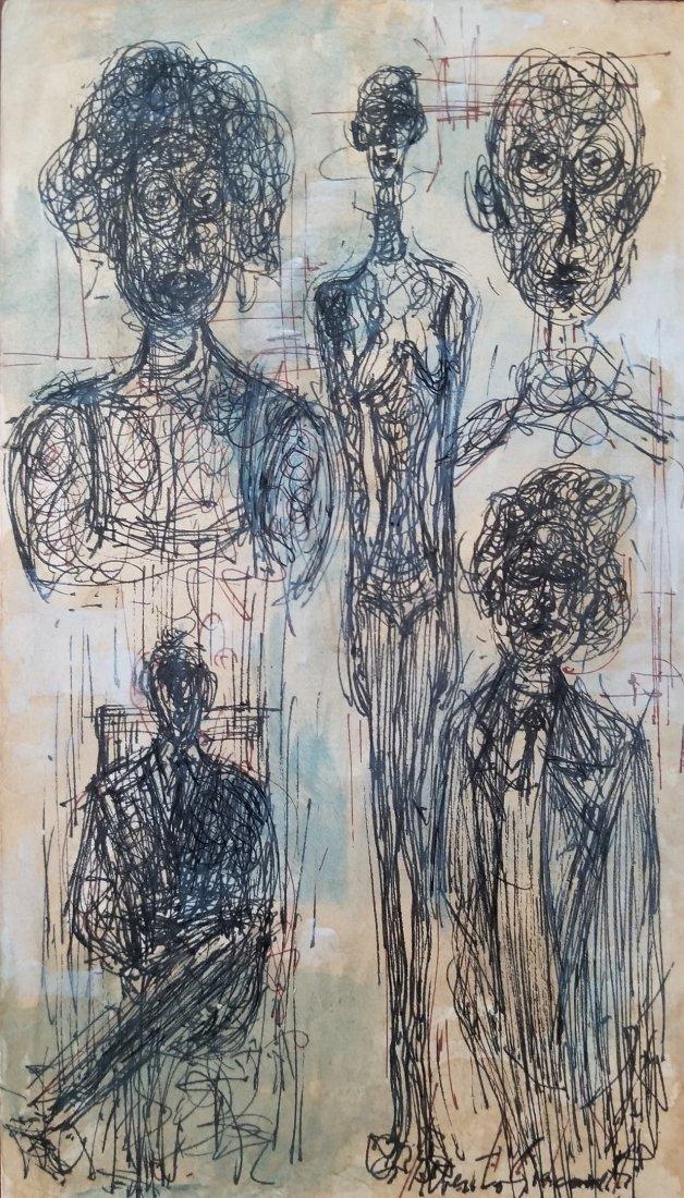 Alberto Giacometti Swiss Drawing Attributed
