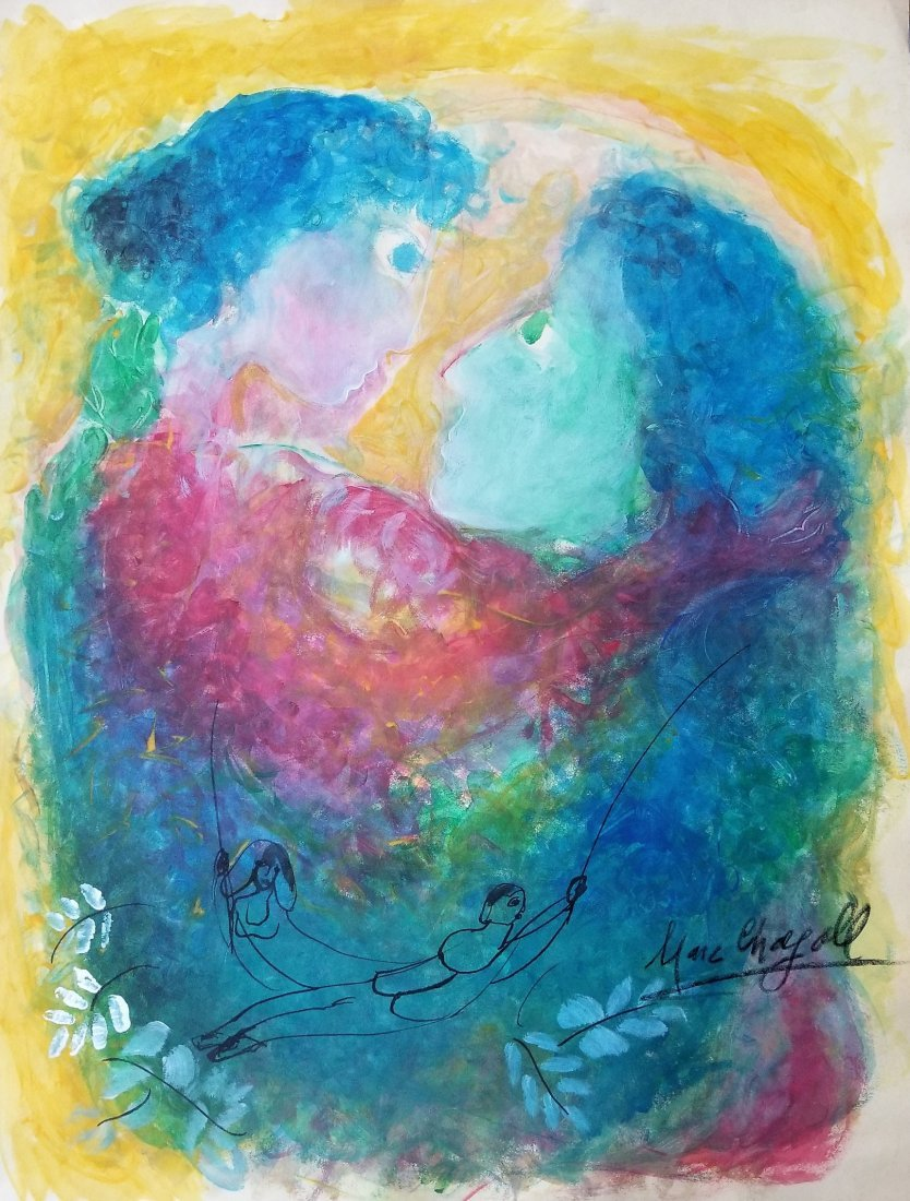 Marc Chagall Russian French Abstract Le Couple Attrib.