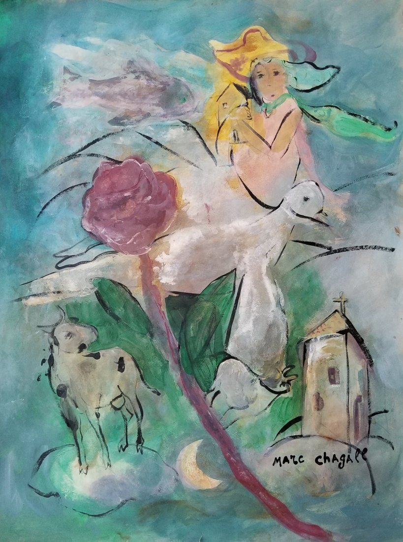 Marc Chagall Russian French Abstract Figurative Attrib