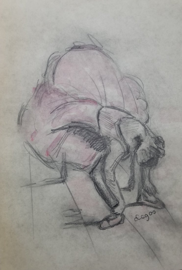 Edgar Degas French hand painted drawing dancer style of