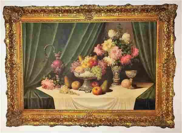 Jean Baptiste Robie Still life Flowers Fruits 19th C.