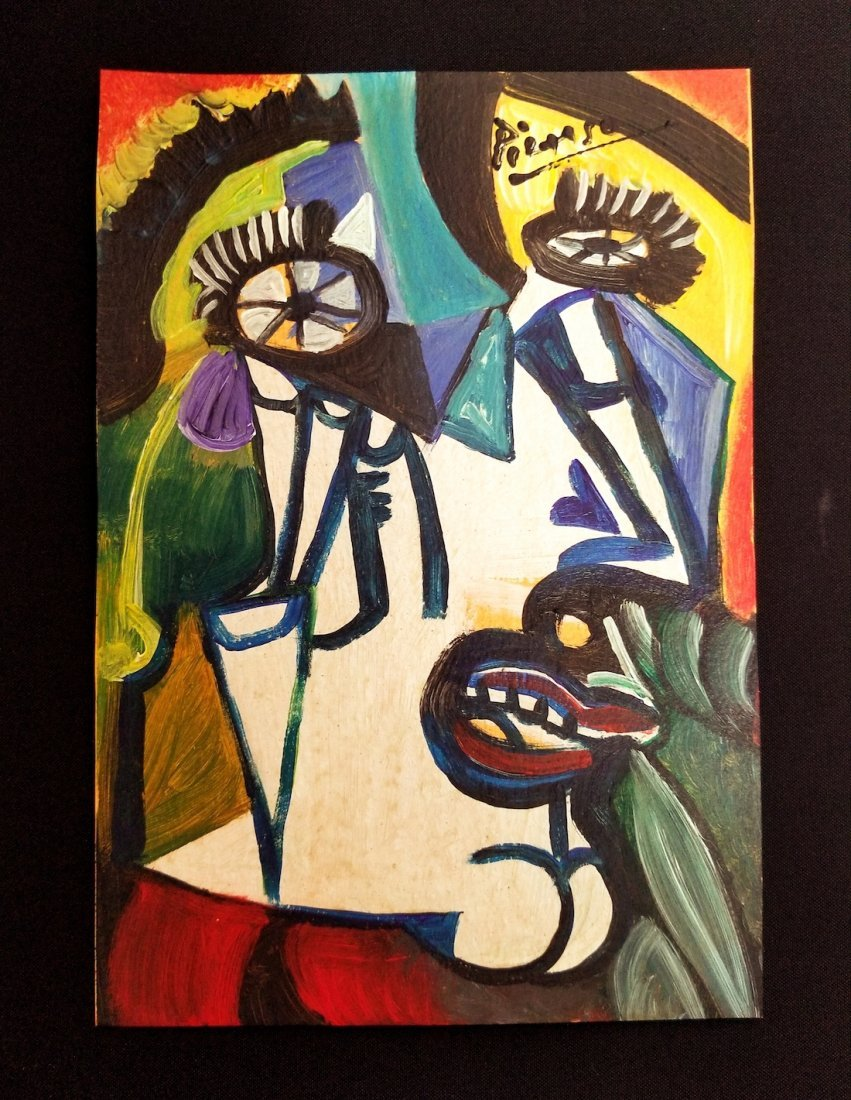 Pablo Picasso Spanish Mixed Media Art Cubism - Style of
