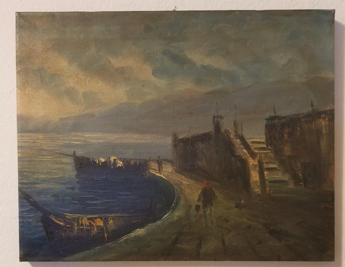Claudet Monet Landscape Seascape Port Boats - Style of.