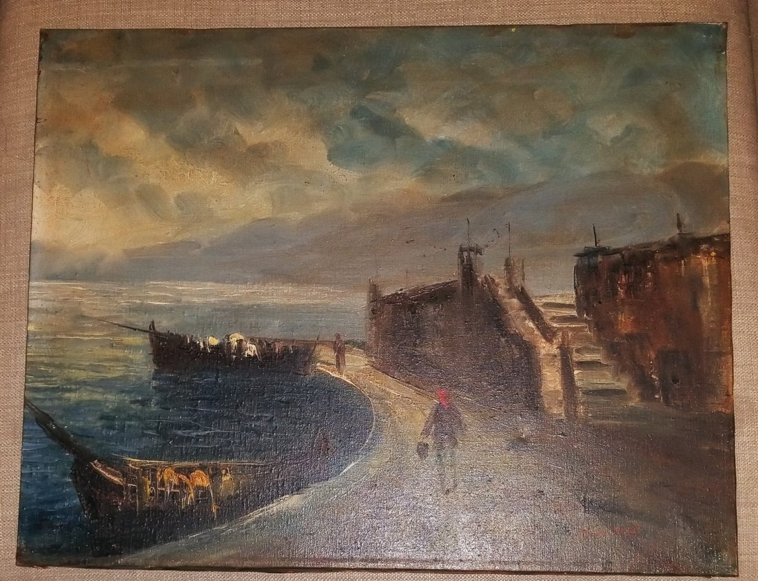 Claudet Monet Landscape Seascape Port Boats - Style of. - 2