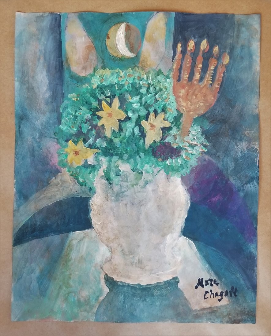 Marc Chagall Mixed  French Abstract Still life-Style of