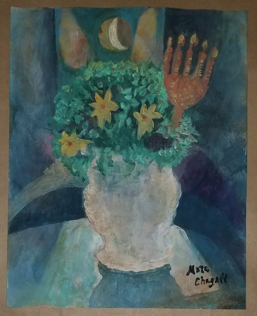 Marc Chagall Mixed  French Abstract Still life-Style of - 2