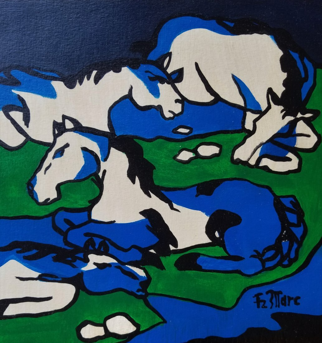 Franz Marc German Figurative Abstract Horses -Style of