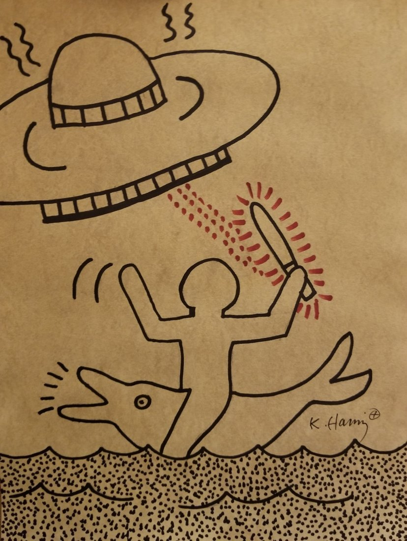 Keith Haring Pop Art American Mixed Media -Style of.