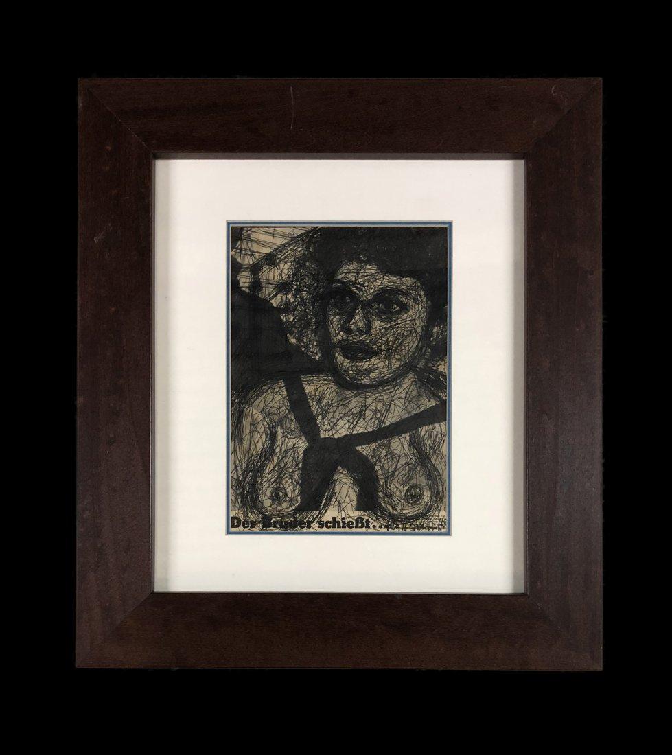 Alberto Giacometti Attrib Swiss Art Sculptor Drawing
