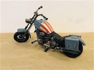 USA Metallic Motorcycle Antique Sculpture