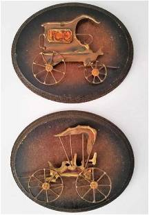 Pair Old Wood Metal Carriage Car Sculpture Wall Plaques