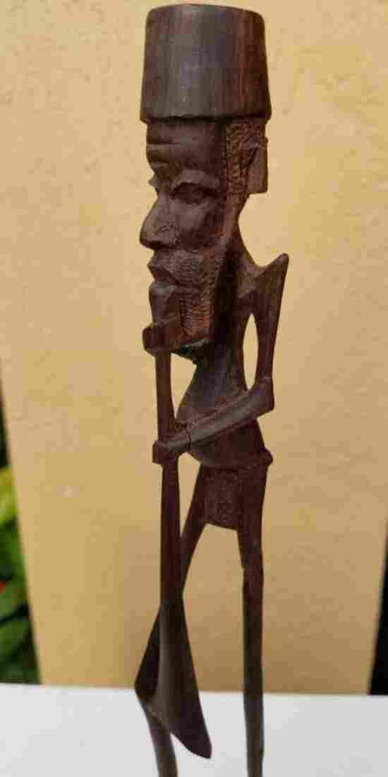 African Wood Sculpture Man Musician
