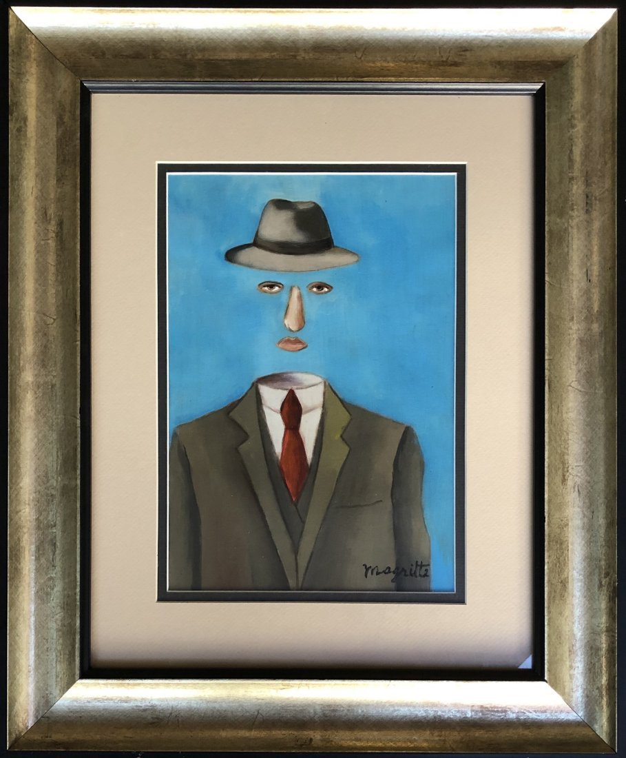 Rene Magritte hand painted drawing surrealist- Style of
