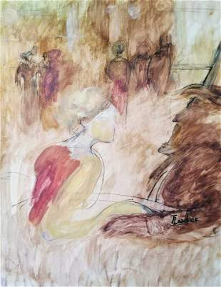 Henri De Toulouse Lautrec French Drawing Mixed Attrib