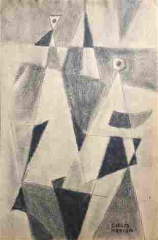 Carlos Merida Geometric Guatemalan Mexican Art Attrib