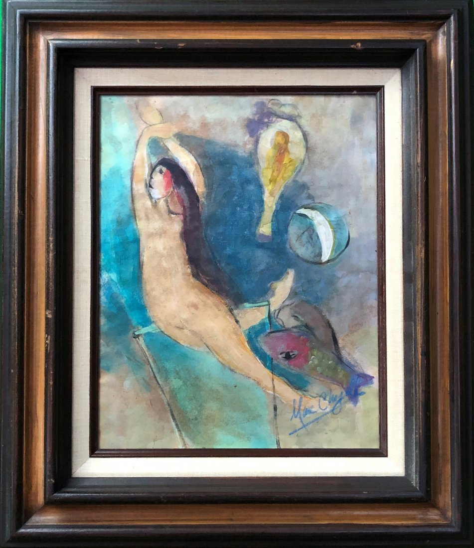 Marc Chagall Drawing Hand Painted Women French Russian