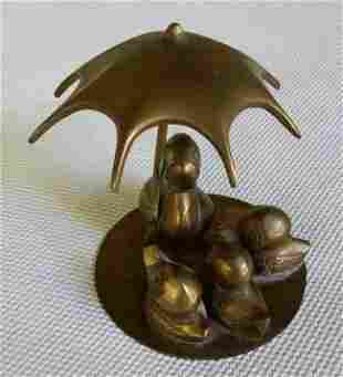 Bronze Sculpture Duck Ducklings W Umbrella Vintage