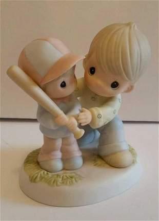 Porcelain Boys Sculpture Vintage Baseball Bat