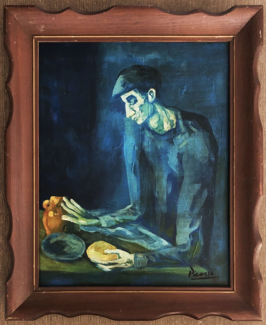 Pablo Picasso Spanish Blue Period Eating Man Oil on Can