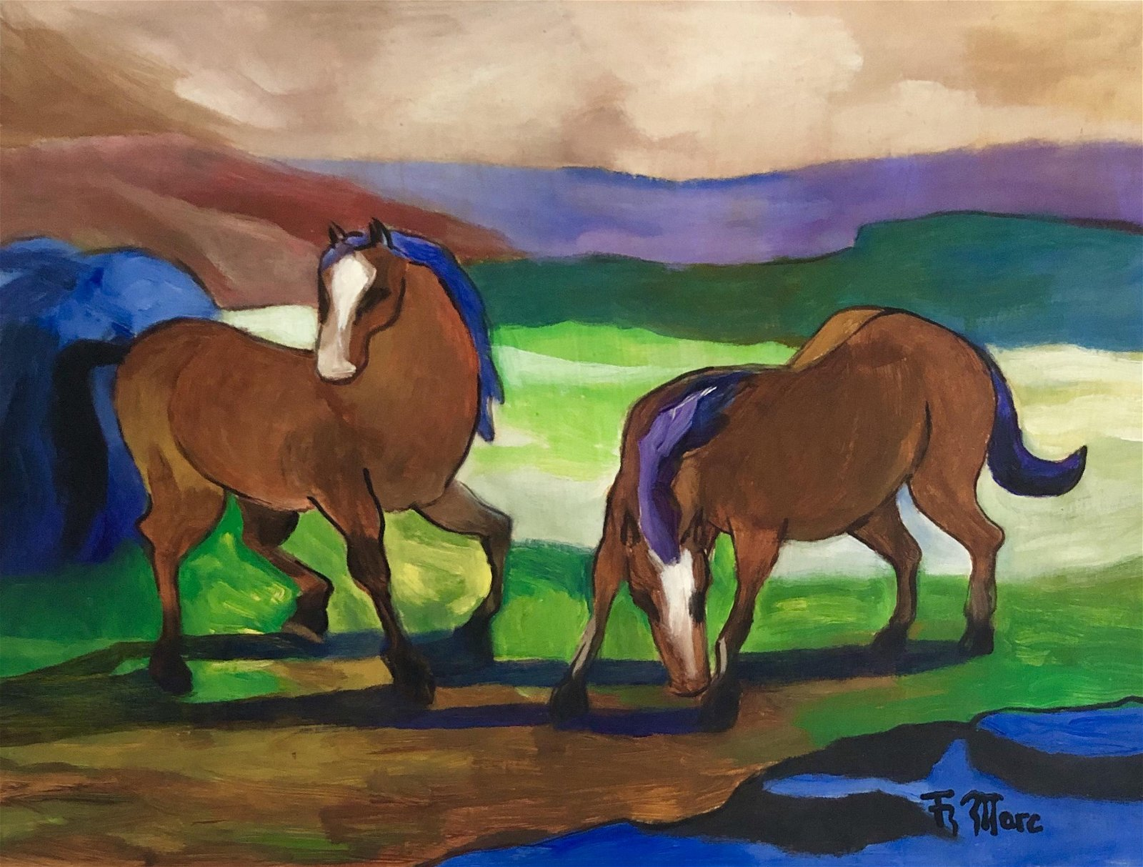 Franz Marc German Figurative Abstract Horses Attrib
